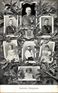 Ak Friedrich August III. König von Sachsen, Kronprinz Georg, Prinz Christian, Ernst, Alice, Anna