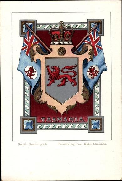 Wappen Litho Tasmania Australia, State Badge, Red Lion, Flaggen