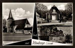 Ak Nienberge Münster in Westfalen, Haus Rüschhaus, Ehrenmal, Kirche, VW Käfer
