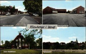 Ak Nienberge Münster in Westfalen, Münsterstraße, Haus Rüschhaus, Schule, Teilansicht Ortschaft, CV2