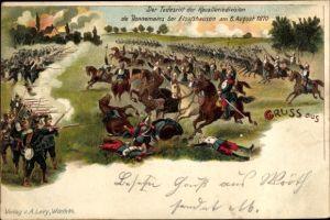 Litho Wœrth Wörth an der Sauer Elsass Bas Rhin, Der Todesritt der Kavalleriedivision,06. August 1870