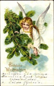 Präge Litho Glückwunsch Weihnachten, Engel an einem Tannenbaum, Kerze