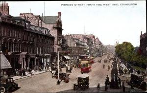 Ak Edinburgh Schottland, Princes Street from the West End