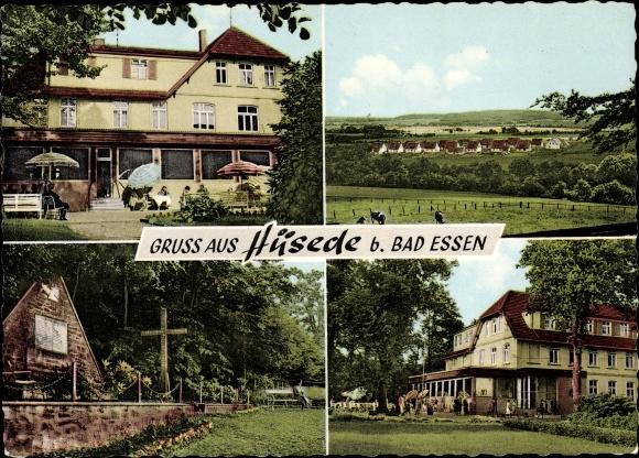 Ak Hüsede Bad Essen in Niedersachsen, Ansichten vom Ort, Totale, Gasthaus