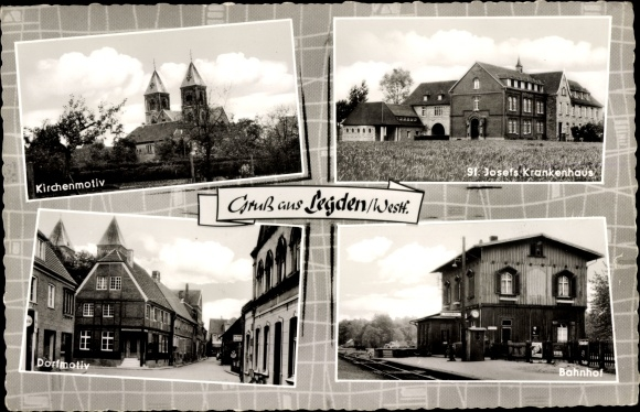 Ak Legden in Westfalen, Kirche, St. Josefs Krankenhaus, Bahnhof