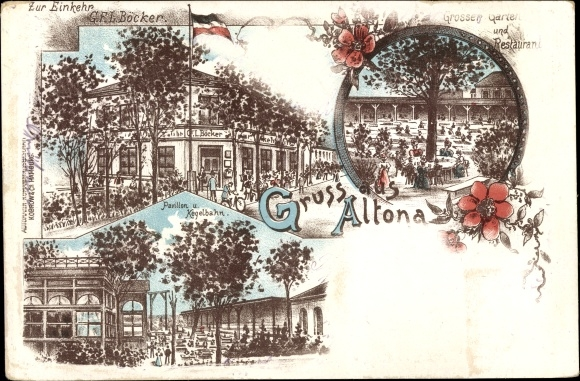 Litho Hamburg Altona, Zur Einkehr, Inh. G.F.L. Böcker, Großer Garten und Restaurant