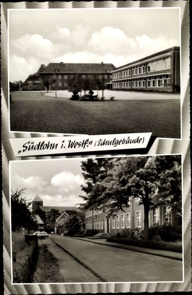 Passepartout Ak Südlohn in Westfalen, Partie am Schulgebäude