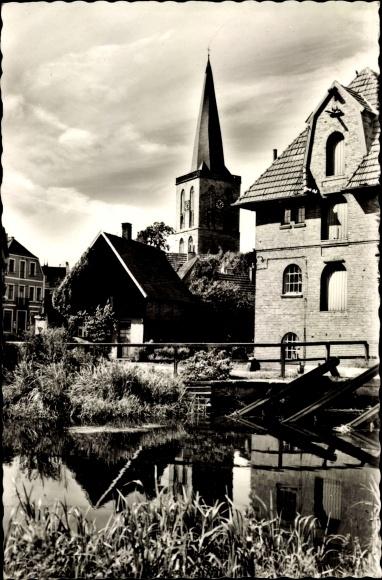 Ak Schüttorf in Niedersachsen, Wassermühle mit evangelischer ref. Kirche