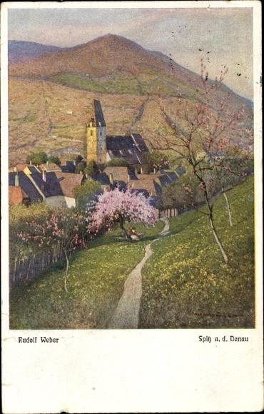 Künstler Ak Weber, Rudolf, Spitz Donau Niederösterreich, Kirche, Ort im Frühling