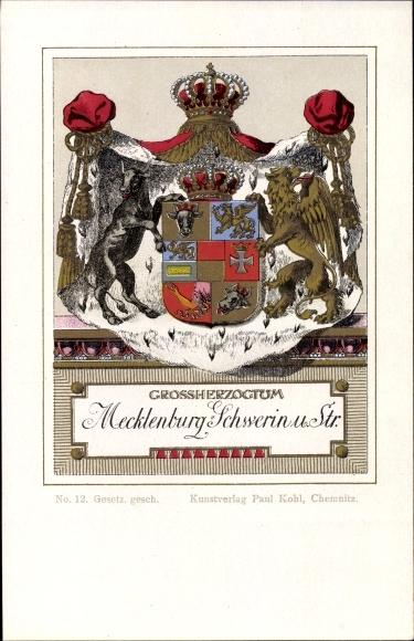 Wappen Litho Großherzogtum Mecklenburg Schwerin und Strelitz