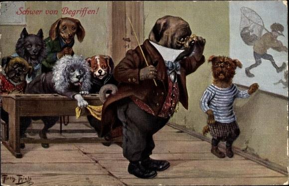 Künstler Ak Thiele, Arthur, Hundeschule, Lehrer, Schüler spielen einen Streich