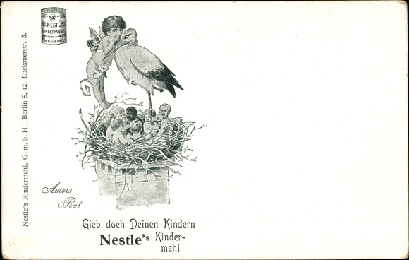 Litho Nestle's Kindermehl, Storchennest, Engel, Kinder im Nest, Amors Rat