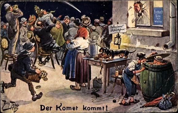 Künstler Ak Thiele, Arthur, Der Komet kommt, Halleyscher Komet, Dackel