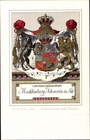 Wappen Litho Großherzogtum von Mecklenburg-Schwerin und Strelitz