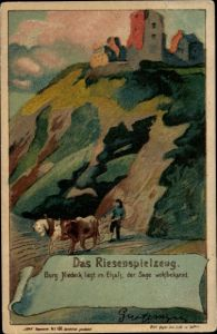 Haltgegendaslicht Künstler Litho Elsaß Bas Rhin, Das Riesenspielzeug, Burg Nideck, Sage, Ackerpflug