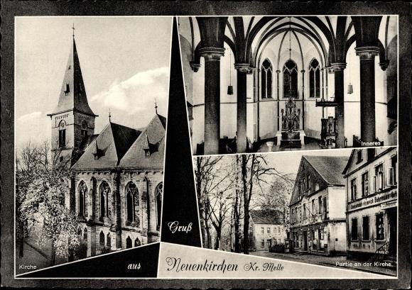 Ak Neuenkirchen Melle in Niedersachsen, Katholische Kirche, Innen- und Außenansicht