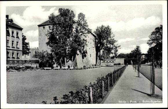 Ak Słupsk Stolp Pommern, Schlossgarten, Straßenpartie