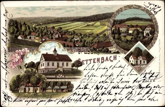 Litho Gettenbach Gründau im Main Kinzig Kreis, Schule, Schloss, Oberförsterei, Blockhaus
