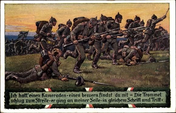 Lied Ak Hey, Paul, Ich hatt' einen Kameraden, Unsere Feldgrauen, Soldatenliederpostkarte No. 8