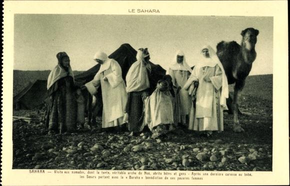 Ak Sahara, Visite aux nomades, Soeurs Missionaires de N. D. d'Afrique, Missionarinnen, Kamel