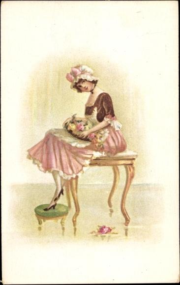 Künstler Ak Frau in rosa Kleid mit Haube und Blumenstrauß