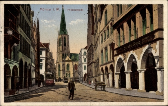 Ak Münster in Westfalen, Prinzipalmarkt mit Blick zur Kirche, Straßenbahn