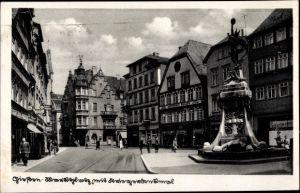 Ak Gießen an der Lahn Hessen, Marktplatz mit Kriegerdenkmal, Modehaus Becker, Kübler Kleidung
