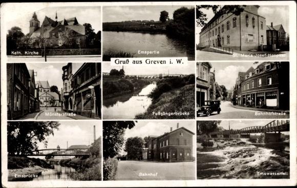 Ak Greven in Nordrhein Westfalen, Kirche, St. Maria Josef Hospital, Emswasserfall, Brücke