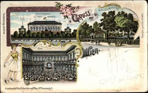 Litho Wien 2. Leopoldstadt Österreich, Pertl's Caféhaus, Prater, Garten mit Musikpavillon, Ballerina