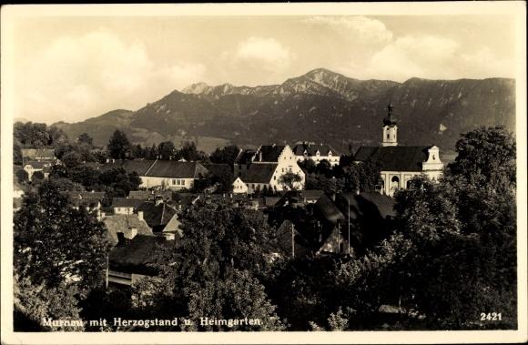 Ak Murnau am Staffelsee in Oberbayern, Herzogstand u. Heimgarten, Blick über die Dächer der Stadt