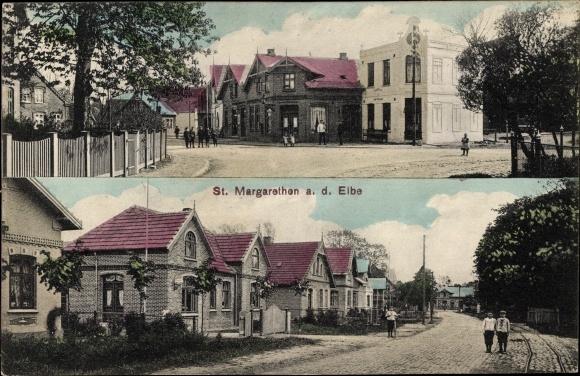 Ak Sankt Margarethen Elbe Schleswig Holstein, Straßenpartien