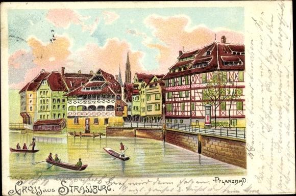 Litho Strasbourg Straßburg Elsass Bas Rhin, Pflanzbad, Flusspartie, Ruderer, Uferpromenade