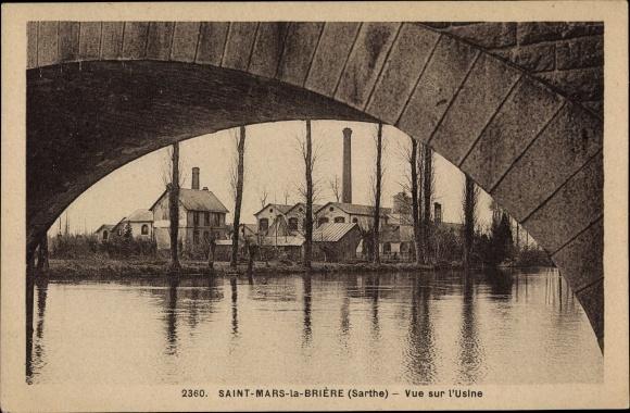 Ak Saint Mars la Briere Sarthe, Usine, Fabrik, Flusspartie, Brücke
