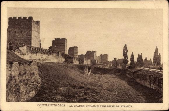 Ak Konstantinopel Istanbul Türkei, La Grande Muraille Terrestre de Byzance, Mauer, Türme