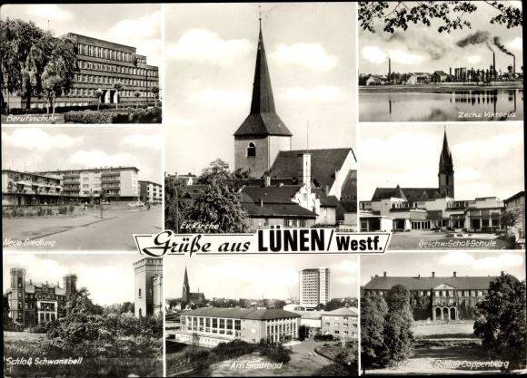Ak Lünen Nordrhein Westfalen, Berufsschule, Zeche ViKtoria, Schloss Schwansbell, Schloss Cappenberg