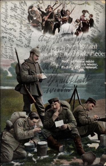 Ak Nach der Heimat möcht ich wieder, Soldaten lesen Briefe im Feld