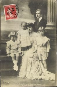 Ak Le Roi et la Reine des Belges et leurs Enfants, König Albert I. von Belgien, Königin Elisabeth