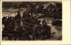 Künstler Ak Hoffmann, Anton, Soldaten im Feld mit Geschützen, Schlachtszene, I. WK