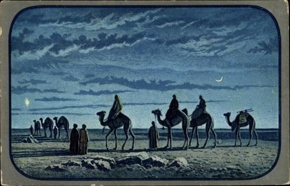 Künstler Ak Kamele in der Wüste bei Nacht, Mondschein, Stern