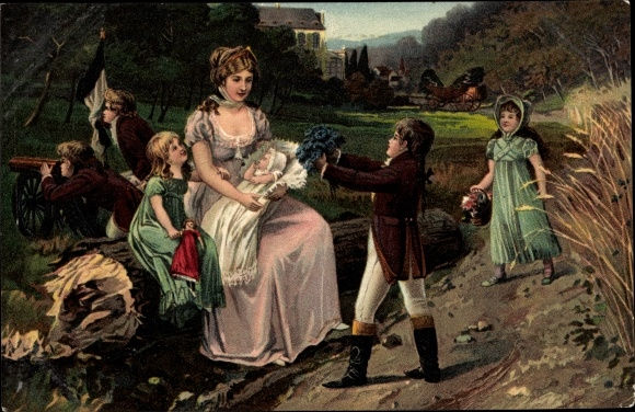 Künstler Ak Königin Luise von Mecklenburg Strelitz, Luise von Preußen mit ihren Kindern in Huben