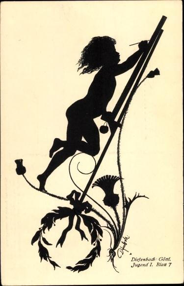 Scherenschnitt Ak Diefenbach, Jugend I, Blatt 7, Kind malt an einer Staffelei