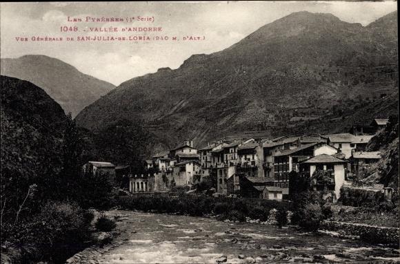 Ak Sant Julià de Lòria Andorra, Vue générale, Flusspartie mit Blick auf den Ort