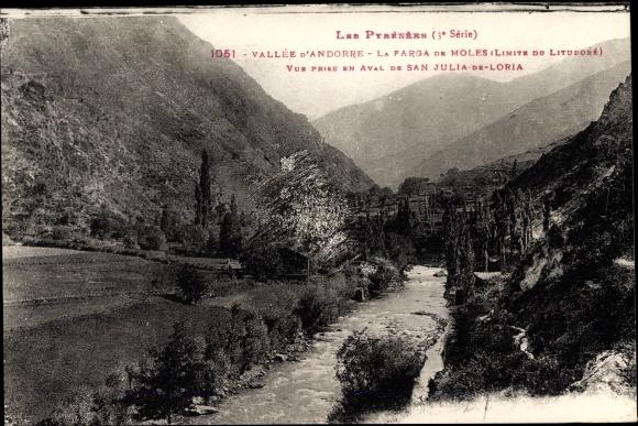 Ak Sant Julià de Lòria Andorra, La farga de moles, Flusspartie, Landschaftsblick