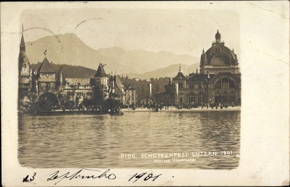 Ak Luzern Stadt Schweiz, Eidg. Schützenfest 1901, Vierwaldstättersee