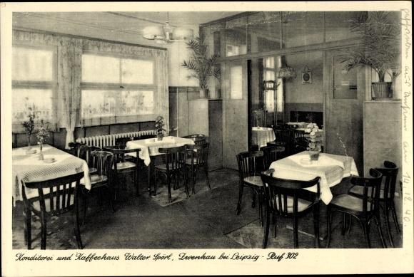 Ak Zwenkau in Sachsen, Konditorei und Kaffeehaus Walter Spörl, Innenraum