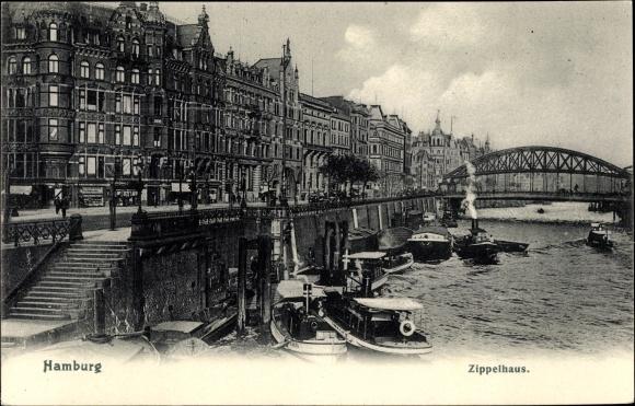 Ak Hamburg Mitte Altstadt, Flusspartie mit Blick auf das Zippelhaus, Boote, Brücke