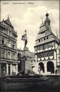 Ak Gießen an der Lahn Hessen, Kriegerdenkmal und Rathaus
