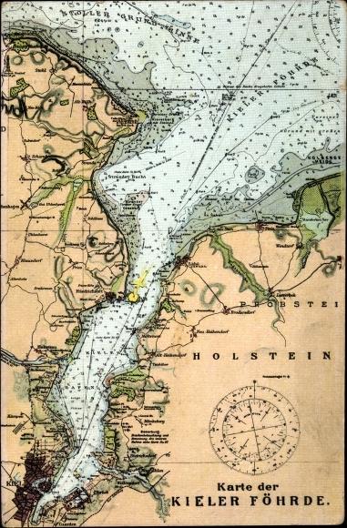 Kieler Bucht Karte.Landkarten Ak Kiel In Schleswig Holstein Karte Der Kieler Förde