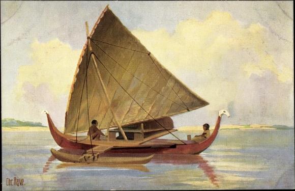 Künstler Ak Rave, Chr., Marine Galerie 85, Fischerboot mit Ausleger von der Insel Jap, 19. Jahrhunde