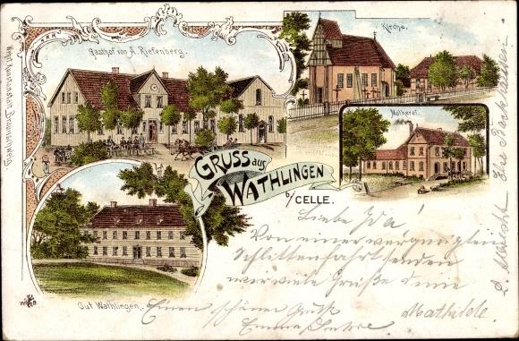 Litho Wathlingen Niedersachsen, Gasthof A. Riefenberg, Kirche, Molkerei, Gut Wathlingen